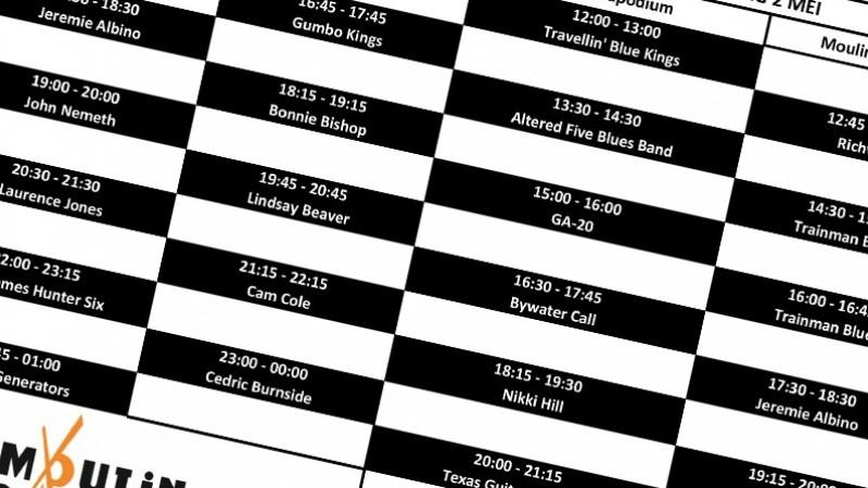 Tijdschema Moulin Blues 2020 | Het toonaangevende Blues & Roots - festival van Nederland - Moulin Blues Ospel