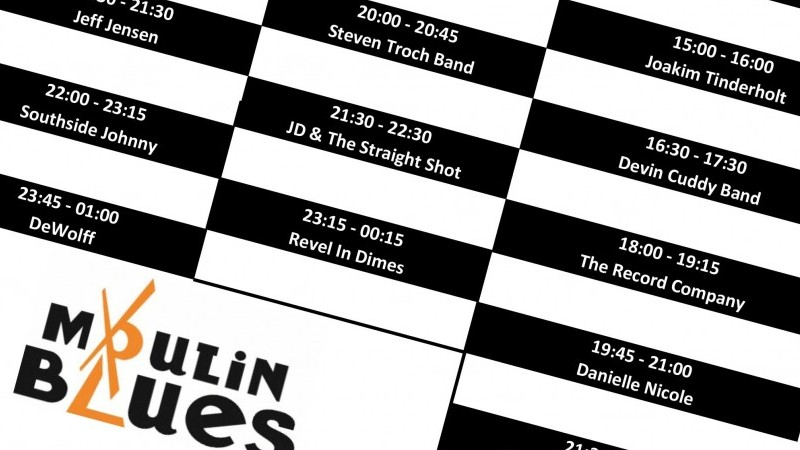 Het blokkenschema voor Moulin Blues 2016 | Het toonaangevende Blues & Roots - festival van Nederland - Moulin Blues Ospel