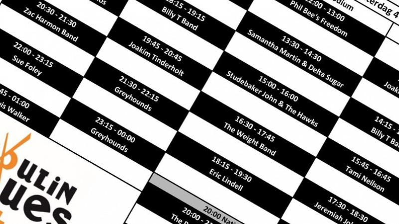Tijdschema Moulin Blues 2019 | Het toonaangevende Blues & Roots - festival van Nederland - Moulin Blues Ospel